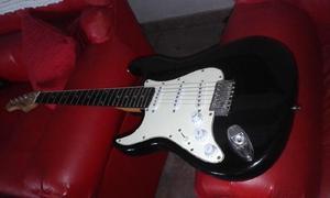Guitarra texas stratocaster zurda con decal exelente