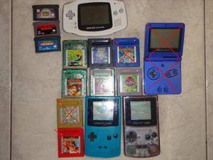 Game boy color,game boy advance son 3 consolas mas 8 juegos