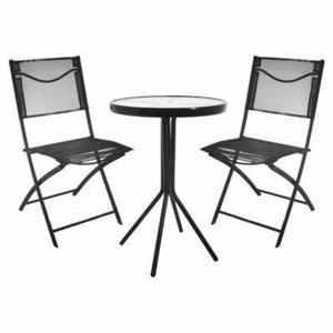 Juego jardin exterior de hierro plegable + mesa + sillas x 2