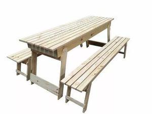 Juego mesa quincho y banco plagables de 2 mts