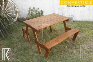 Mesa banco madera clasf - Banco convertible en mesa ...