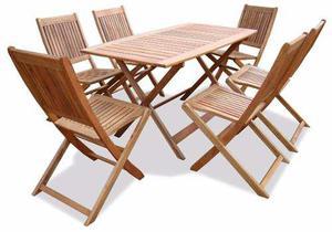 Mesa de madera euca. + 6 silla plegable exterior interior