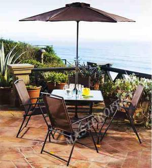 Set de mesa 6 piezas silla de hierro exterior jardin mueble