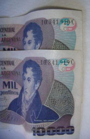Billetes de argentina consecutivos - 10000 $a serie c 10 a
