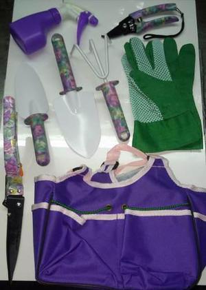 Kit set de jardinería con bolso guantes 6 accesorios