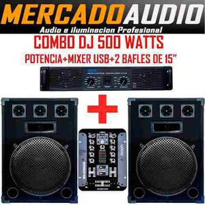 Combo dj completo 500 watts potencia +mixer usb+ 2 bafles 15