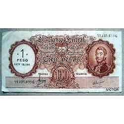 Moneda nacional $ 100 resellado $ 1 ley 18188 serie g nº