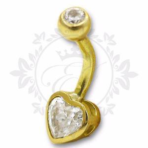 Piercing ombligo oro 18 kts modelo corazón, regalo mujer