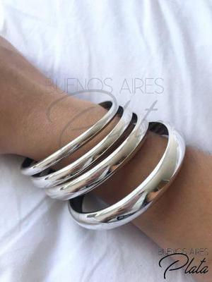 Promoción! 3 pulseras esclavas plata 925 7mm y 2 de 9mm