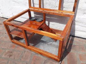Jaula de madera barnizada y alambre c/base chapa galvanizada