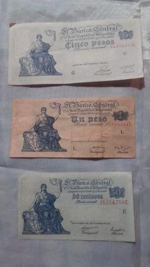 Lote de billetes argentinos antiguos.