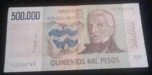 Lote de billetes de 500 mil y un millón pesos ley
