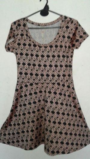 Vestido estampado de seda fria corte en la cintura talle (m) 96cf953cd5ce