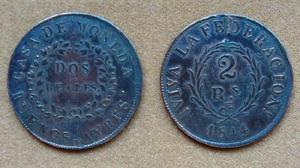 Moneda de 2 reales buenos ayres, argentina 1844