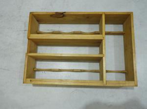 Repisa porta especiero de madera barnizada 46x32x10 nueva