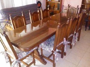 Juego de comedor de algarrobo con 8 sillas clasf - Juego de mesa y sillas comedor ...