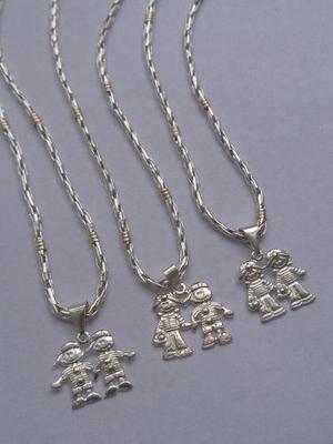 f69bd5f0146f Cadena espiga con dos dijes nena nene plata y oro (di62)