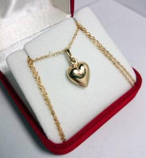 Cadena singapur 2,9grs 50cm y corazon en oro 18k garantia