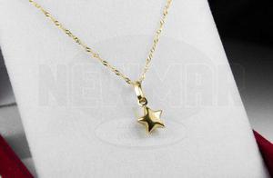 931fd12b607e Conjunto oro 18k cadena singapur c  dije estrella mujer
