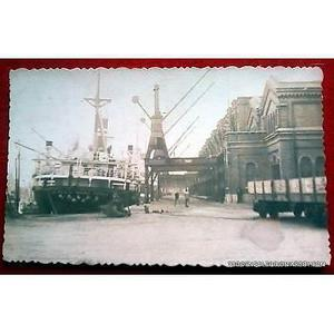 Antigua foto postal puerto madero aduana se ve el buque maru