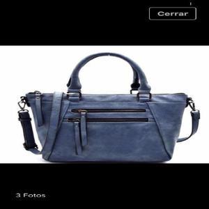 Cartera/ bolso cuero ecologico azul
