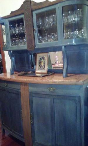 Cristalero vajillero antiguo patinado