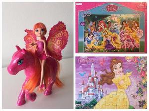 Barbie mini hada con caballo 2 rompecabezas princesas