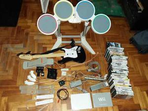 Consola nintendo wii guitarra bateria joystick juegos
