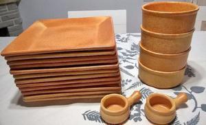 Juego platos cuadrados ceramica rustica compoteras salseras a03c60411d48