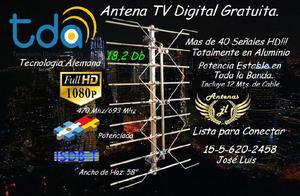 Antena tda, tecnologia alemana. 18,2 db. incluye 10 mts. de