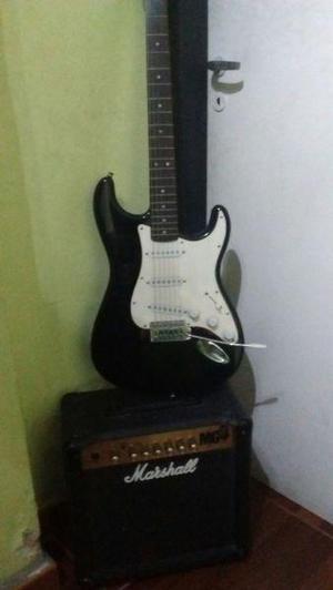 Guitarra electrica squier stratocaster amplificador marshall