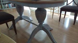 Mesa comedor diseño imperio- roble macizo decapado