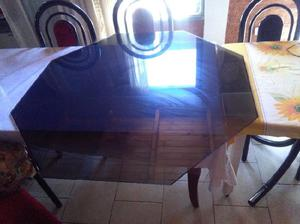 Mesa octogonal vidrio
