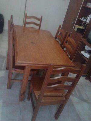 Juego comedor mesa 6 sillas clasf for Vendo sillas comedor