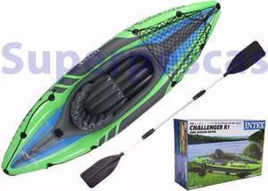Kayak inflable intex challenger k1, 1 persona inflador remo+