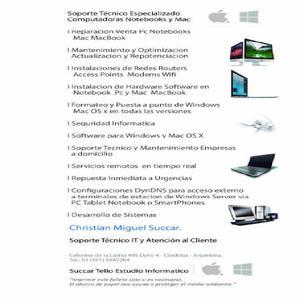Servicio tecnico especializado pc notebooks y mac domicilios