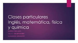 Clases particulares todas las materias primaria y secundaria