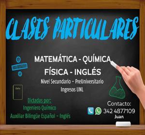 Clases particulares: química, matemática, física e