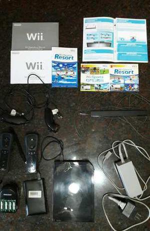 Nintendo wii black con 2 controles + 2 nunchuks + juegos...