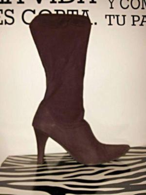 Botas caña alta elastizadas gamuza color chocolate #36
