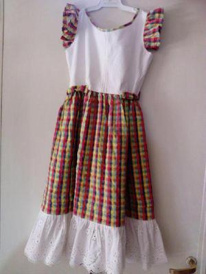 Vestido blanco y falda a cuadrillé,rojo, amarillo, t. 10
