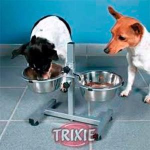 Comedero bebedero doble en altura regulable perros gatos