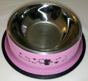 Comedero de acero chico pintado de 13cm de boca para perros