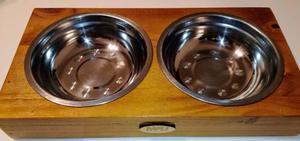 Comedero doble de madera y metal para perros y gatos