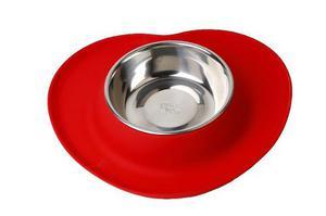Comedero/bebedero de silicona con bowl acero small rojo