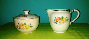 Azucarera y lechera antiguo porcelana. boulogne. muy lindo