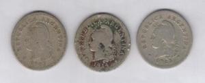 Lote 3 monedas argentinas de 10 centavos 1907/1914/1922