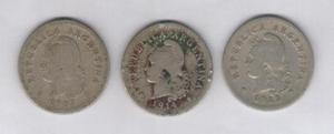 Lote 3 monedas de 10 centavos 1907/1914/1922