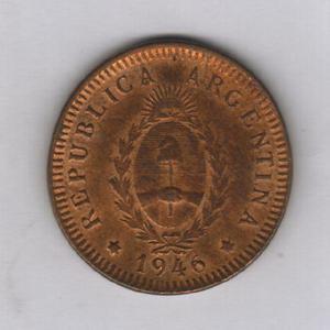 Moneda argentina 2 centavo 1946, falla cuño n°6 sin