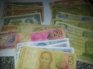 Vendo lote de billetes y monedas